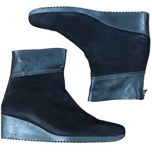 Arche Suede Wedge Ankle Boots w/Leather Cuffs